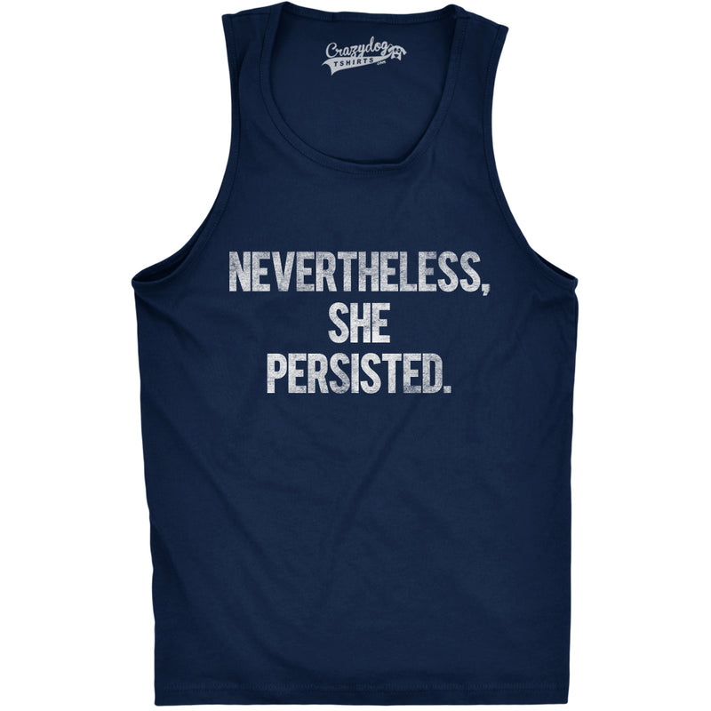 Mens Nevertheless She Persisted Funny Political Congress Senate Fitness Tank Top