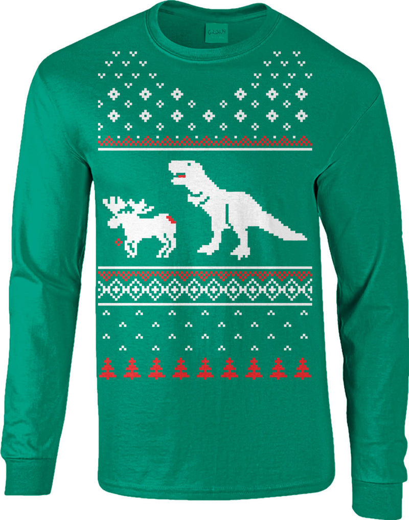 T-Rex Attack Moose Long Sleeve Ugly Sweater Funny Christmas Shirt