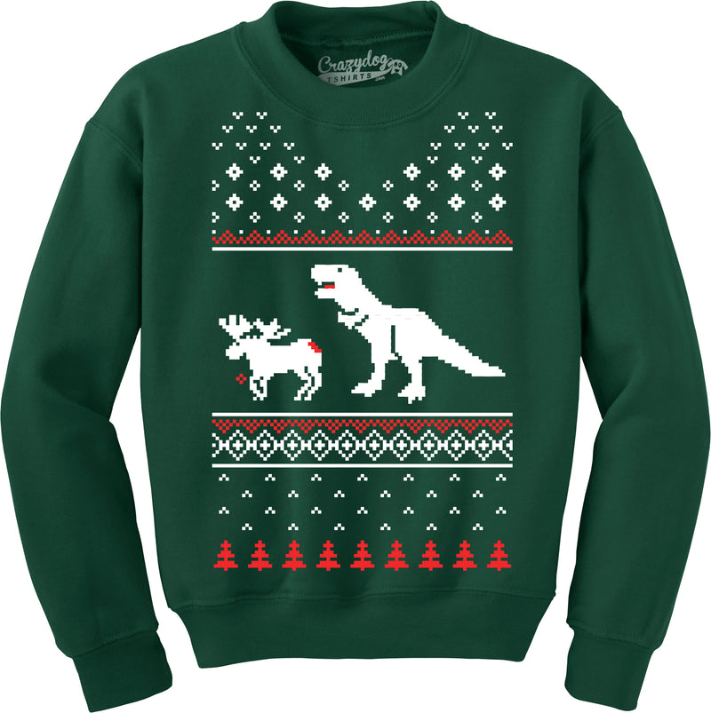 T-Rex Attack Funny T shirts Christmas Ugly Sweater Unisex Crew Neck Sweatshirt