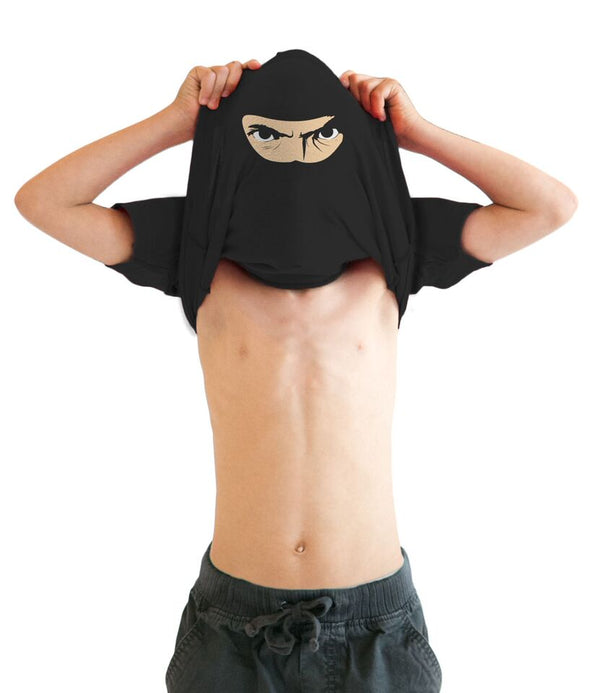 Youth Ninja Disguise Flip T Shirt Funny Cool Costume Mask Tee For Kids