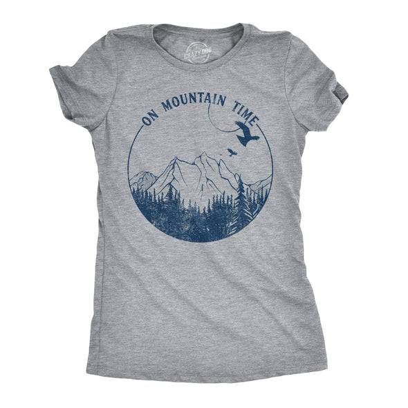 Womens On Mountain Time Tshirt Cute Outdoor Camping Tee For Ladies