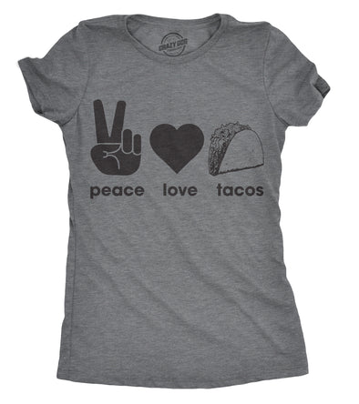 Womens Peace Love Tacos T shirt Funny Saying Cute Graphic Vintage Ladies Design