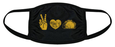 Peace Love Tacos Face Mask Funny Cinco De Mayo Novelty Nose and Mouth Covering