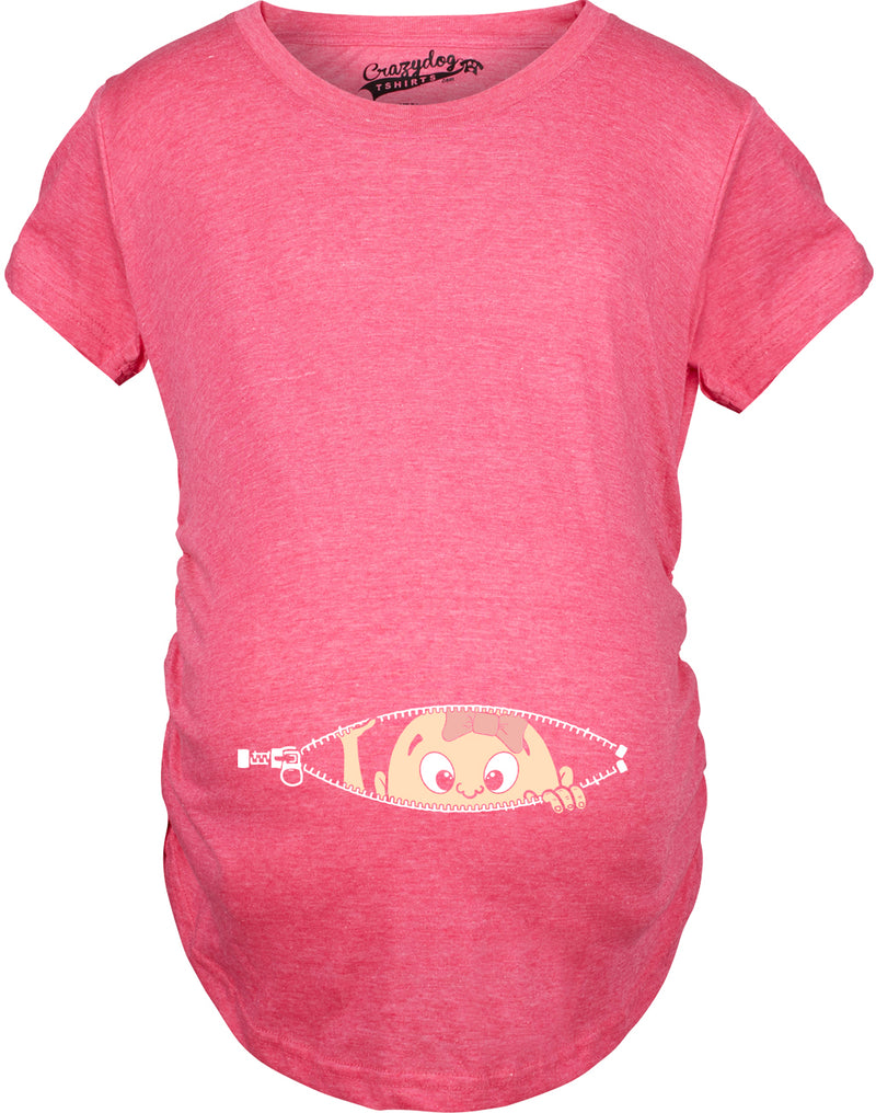 Maternity Baby Girl Peeking With Pink Bow Shirt Funny Cute Pregnancy T Shirt