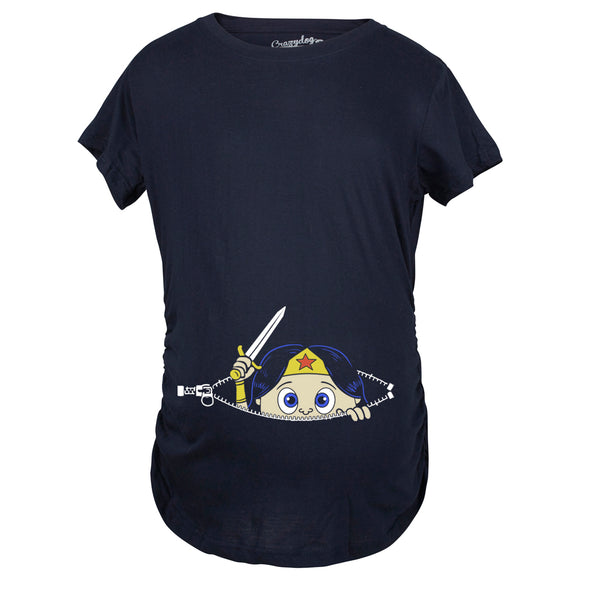Maternity Peeking Women Warrior Superhero Pregnancy Shirt