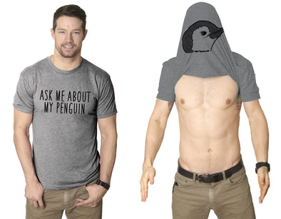 Ask Me About My Penguin Flip Up T Shirt Funny Penguins Tee Costume Shirt