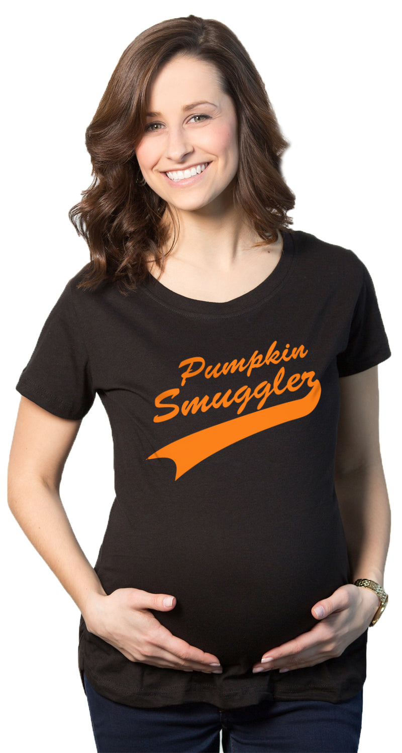 Maternity Pumpkin Smuggler Funny Halloween T shirt Announce Pregnancy T shirt