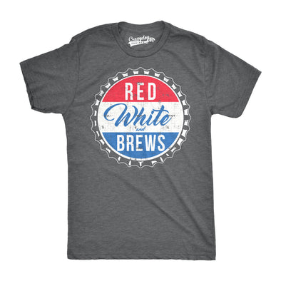 Mens Red White and Brews Funny T shirts Vintage USA Beer Novelty Graphic T shirt
