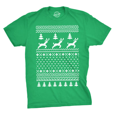 Reindeer Ugly Christmas Sweater T Shirt Funny Holiday Party Vintage Pattern Tee