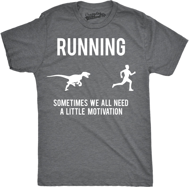 Mens Running Motivation Raptor Chase T Shirt Funny Dinosaur Tee For Guys
