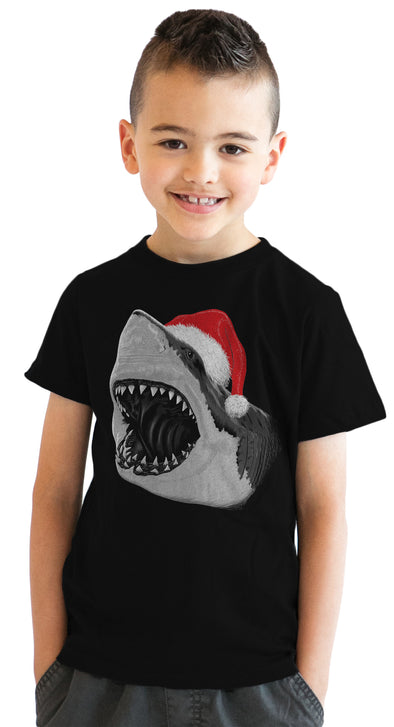 Youth Santa Jaws Funny Holiday Shark Christmas Cool Novelty T shirt for Kids