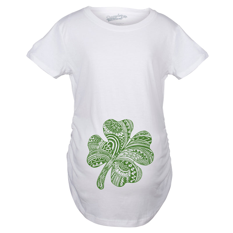Maternity Shamrock Belly Funny T shirt Lucky Irish St. Paddy's Pregnancy T shirt
