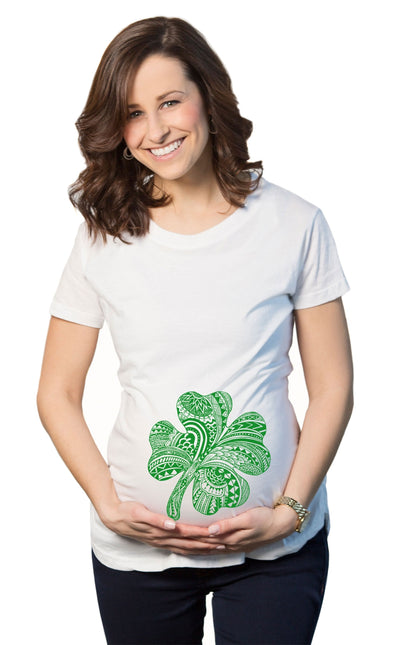 Maternity Shamrock Belly Funny T Shirt Lucky Irish Saint Patricks Day Patty Tee