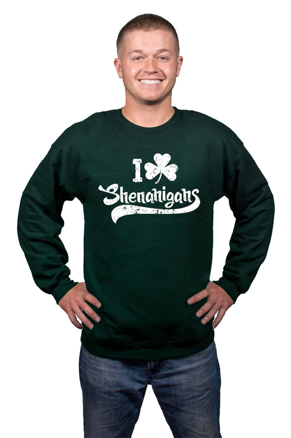 I Clover Shenanigans Funny St. Patrick's Day Clover Unisex Crew Neck Sweatshirt