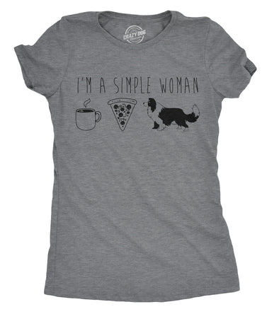 Womens Im A Simple Woman T shirt Coffee Pizza Dog Tee Funny Top for Ladies