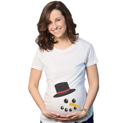Maternity Snowman Face Announcement Pregnancy Funny Christmas Pregnancy T shirt