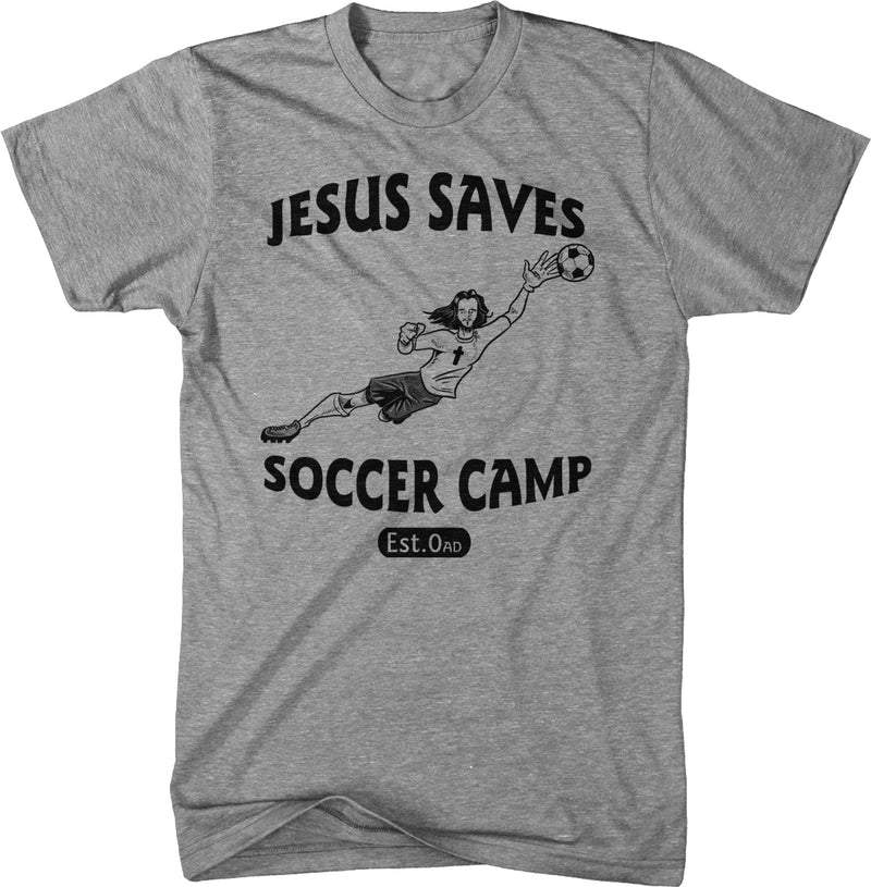 Jesus Saves Soccer Goalie T Shirt Funny Religion Football Sports Tee