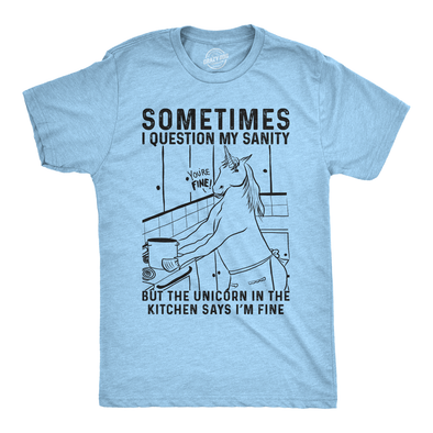 Mens Sometimes I Question My Sanity But The Unicorn T Shirt Funny Fantasy Top