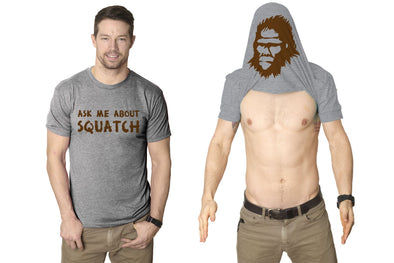 Ask Me About My Bigfoot T Shirt Funny Graphic Sasquatch Flip Shirts Yeti Humor