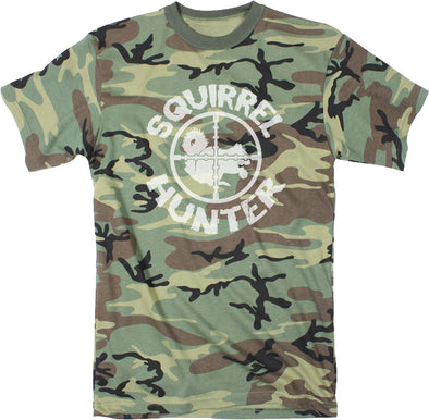 Mens Squirrel Hunter Funny Animal Hunting Season Shooting Camouflage T shirt
