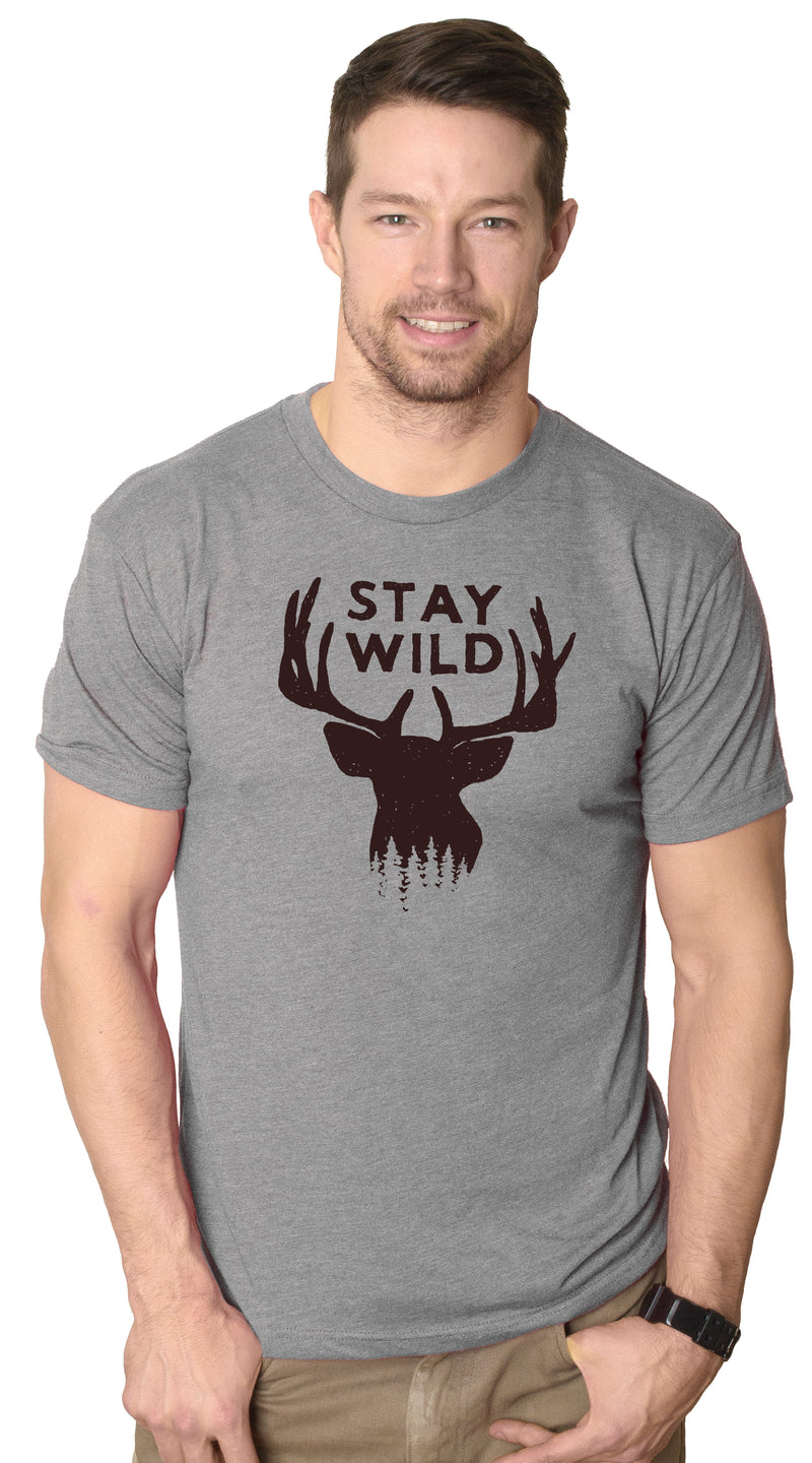 Mens Stay Wild Funny Outdoors Camping Wildlife Deer Antlers T shirt