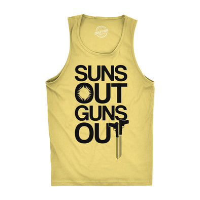 Mens Suns Out Guns Out Tank Funny Workout Tanks Hilarious Gym Shirt