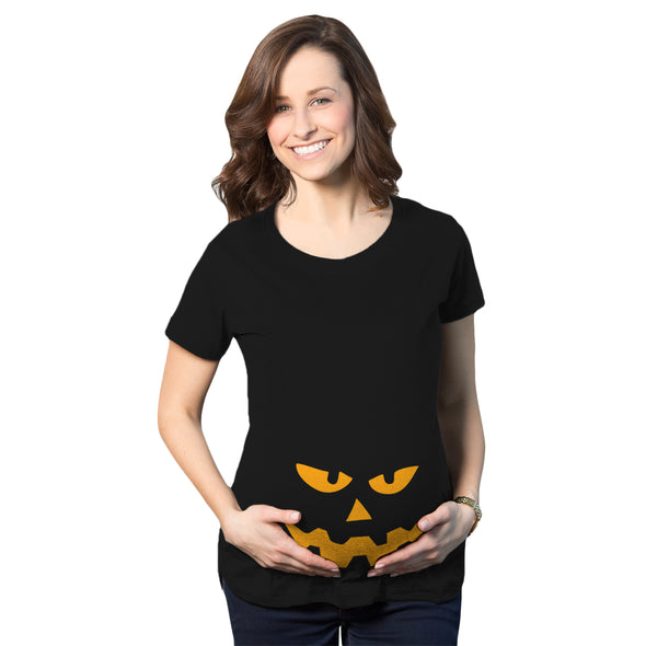Maternity Triangle Nose Pumpkin Face Halloween Pregnancy Announcement T shirt