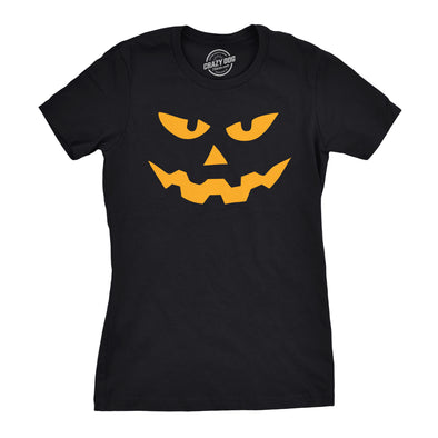 Womens Triangle Nose Pumpkin Face Funny Fall Halloween Spooky T shirt