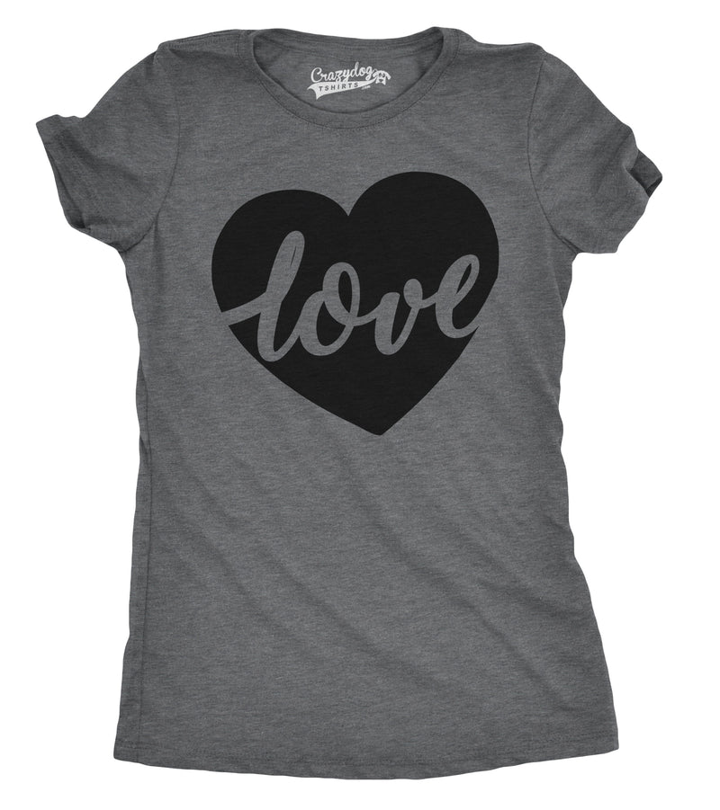 Womens Love Script Heart Cute Valentines Day Relationship T shirt for Ladies