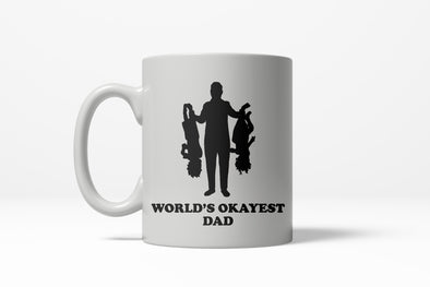Worlds Okayest Dad Upside Down Kids Funny Fathers Day Ceramic Coffee Drinking Mug (White) - 11oz