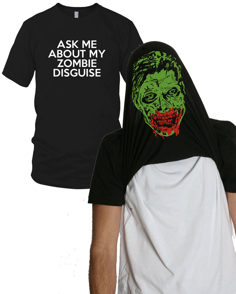 Mens Ask Me About My Zombie T shirt Funny Zombie T shirts Flip Costume Outbreak Tees