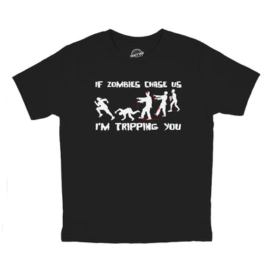 Youth If Zombies Chase Us I'm Tripping You Funny Halloween TShirt for Kids