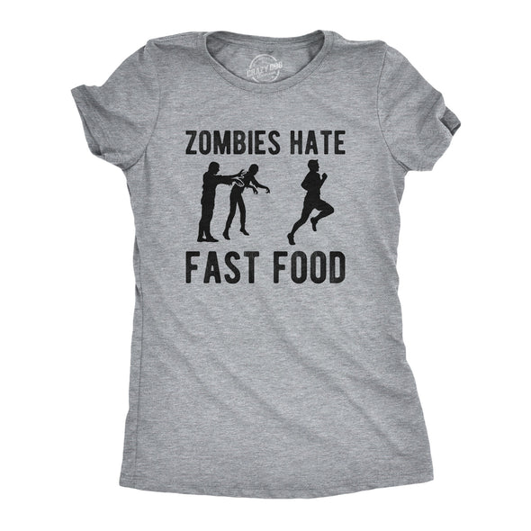 Womens Zombies Hate Fast Food Tshirt Funny Running Halloween Novelty Tee