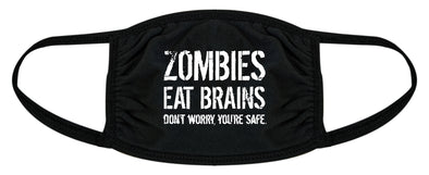 Zombies Eat Brains Face Mask Funny Halloween Apocalypse Nose And Mouth Covering