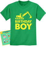 Birthday Boy Gift Idea Yellow Tractor Bulldozer Construction Party Kids T-Shirt