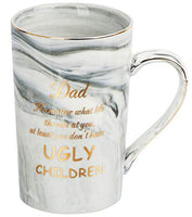 Momugs Funny Dad Gifts Mug - Dad No Matter What Life Throws at You at Least You Don't Have Ugly Children - Unique Gift for Father Day Birthday - Novelty Gray 14oz Coffee Mug Gift from Daughter Son