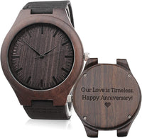 Custom Engraved Mens Vintage Analog Quartz Wooden Wrist Watches Handmade Casual Men Watch with Cowhide Leather Strap Personalized Gifts for Men Husband Boyfriend Dad