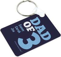 Father's Day Keychain for Dad of 3 Personalized Name Gifts Personalized Aluminum Rectangle Keychain