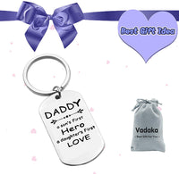 Fathers Day Gift Keychain A Son's First Hero, A Daughter's First Love Keyring Stainless Steel Keychain Personalized Keyring Gifts for Dad from Daughter Son Birthday Christmas Gift for Dad Father Papa