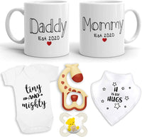 "2020 EST New Parent Gift Set for Parents to Be - New Mommy Daddy EST 2020 11 oz Mug Heart Set with""Tiny & Mighty"" Romper (0-3 Mths), Bib,Teether, Pacifier - Mom & Dad Gift Set Pregnancy Gift"