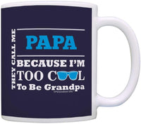 Personalized Fathers Day Gifts Too Cool to be Grandpa Add Name Custom Gift Coffee Mug Tea Cup Blue