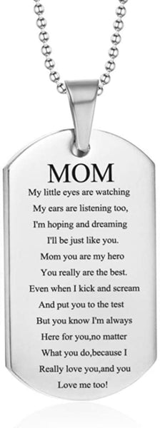 LiFashion LF Stainless Steel Mommy's Daddy's Dog Tag Pendant Necklace for Mom Dad Sentimental Motivational Quote Engraved Mothers Fathers Day Birthday Gift from Daughter Son