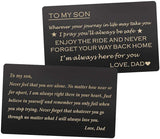 Engraved Wallet Cards Gift for Son from Dad, Stainless Steel Wallet Insert, Mini Love Note - Son Dad Gifts, Birthday Gifts Graduation Gifts Christmas Gifts from Dad, Father Son gifts, Gifts to My Son