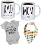 "Pregnancy Gift Est 2020 - New Mommy and Daddy Est 2020 11 oz Mug Heart Set with""Let Adventurer Begin"" Romper (0-3 Months) - Top Mom and Dad Gift Set for New and Expecting Parents to Be - Baby Shower"