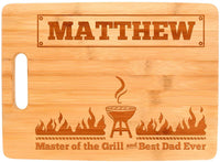 Personalized Grill Gifts Custom Name Master of the Grill and Best Dad Ever Personalized Fathers Day Gifts from Daughter Father Son Gifts Dad Grill Big Rectangle Bamboo Personalized Cutting Board