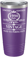 1990 30th Birthday Gifts for Women and Men Glass Vintage Aged To Perfection 30 year Anniversary Gift Ideas for Mom, Dad, Husband, Wife 30th Class Reunion on Maroon 20 oz Stainless Steel Tumbler