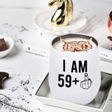 59 + One Middle Finger 60th Birthday Gifts for Men Women Wine Tumbler – Funny 60 Year Old Presents - 12 oz Stemless Wine Party Decorations Supplies - Gift Ideas for Dad Mom Husband Wife