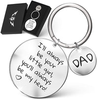 "Fathers Day Gift for Dad -""I'll Always Be Your Little Girl, You'll Always Be My Hero!"" Engraved Keychain 
