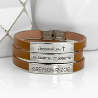 Leather Mens Bracelet Personalized Fathers Day Gifts for Him Mens Jewelry Genuine Leather Mens Personalized Bracelet Dad Gift Mens Gift Graduation - BNLBR