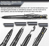Tactical Pen for Self-Defense + LED Tactical Flashlight, Bottle Opener, Window Breaker | Multi-Tool for Everyday Carry (EDC) Survival Gear | For Military, Police, SWAT | Gift Boxed + Extra Ink